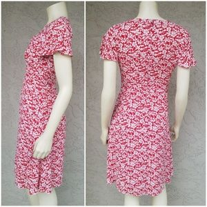 Brooks Brothers Dresses - Brooks Brothers Red White Floral Fit & Flare Dress